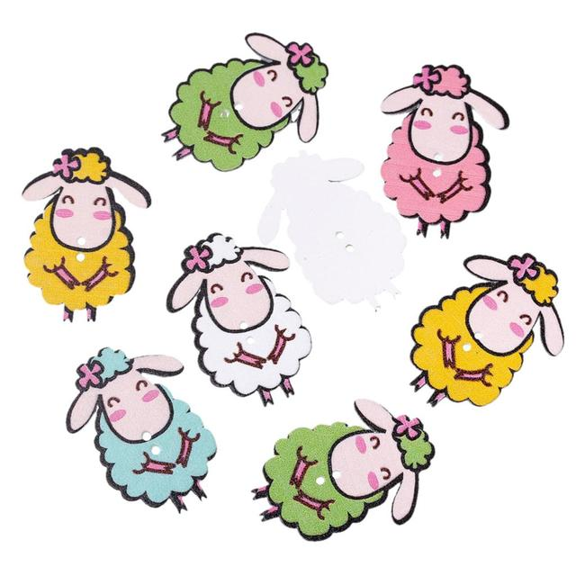 """DoreenBeads Wood Sewing Button Scrapbooking Sheep At Random Two Holes 4.3cm(1 6/8"""")x 3.1cm(1 2/8""""),4 PCs 2015 new"""