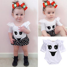 Baby Romper Girl and Boy Smile Face Print Bebe Summer Clothing Set for Newborn Next Jumpsuits Rompers