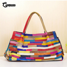 100% Genuine Leather Women Handbag 2019 First Cowhide Fashion Striped Stitching Shoulder Bags Casual Tote