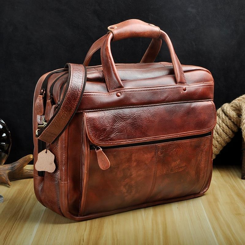 HTB1XGWldjbguuRkHFrdq6z.LFXa7 Men Oil Waxy Leather Antique Design Business Briefcase Laptop Document Case Fashion Attache Messenger Bag Tote Portfolio 7146