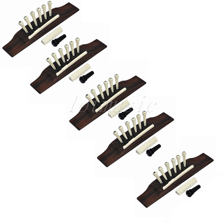 5 sets Acoustic guitar bridge Bone Pins Saddle Nut Guitar Parts New! цены онлайн