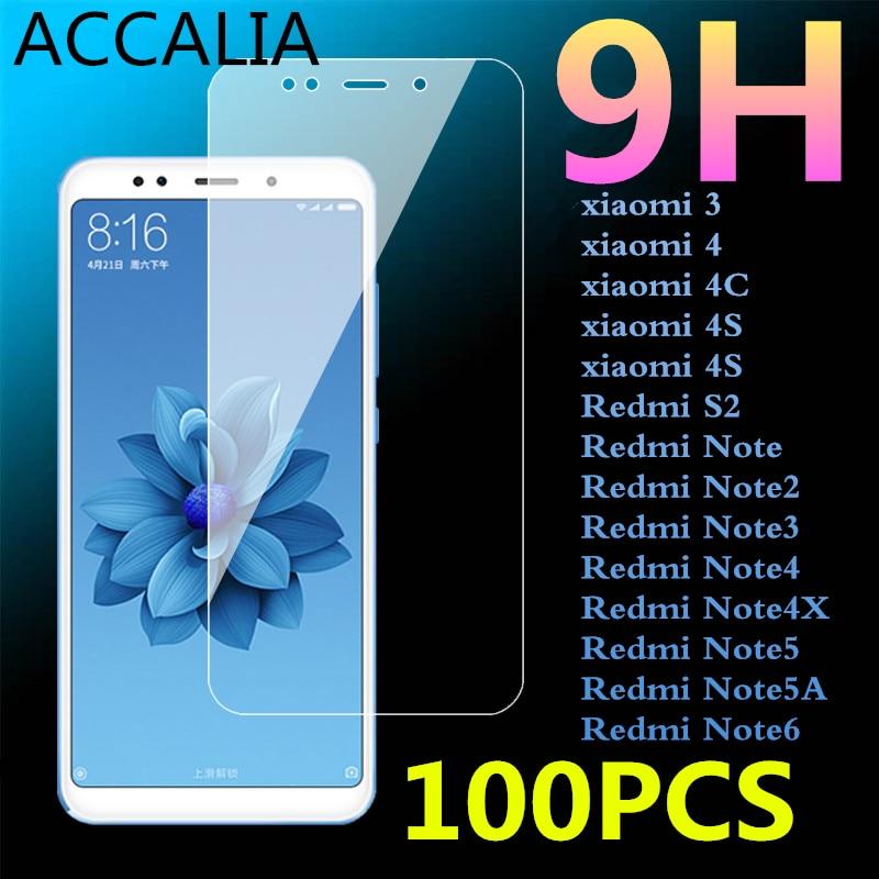 100Pcs 9H Tempered Glass for Xiaomi Mi3 4 c 4S Film For Redmi Note 2 Note