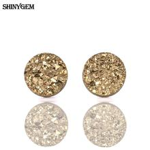 4 Colors New Fashion Quartz Druzy Tiny Earrings Round Natural Stone with 925 Silver Post Pin Stud Earrings For Women цена 2017