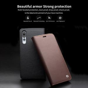 Image 2 - QIALINO funda de teléfono con ranura para tarjetas para Huawei Ascend P20, billetera de cuero genuino de lujo, funda con tapa para Huawei P20 Pro