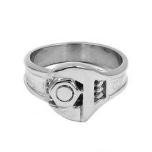 Screw Wrench Biker Ring 316L Stainless Steel Jewelry Cool Punk Tools Spanner Motor Biker Rings For Men Wholesale SWR0755A