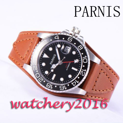 40mm Parnis Black Dial luminous Mark Sapphire glass Leather Strap date GMT Automatic Mens Watch40mm Parnis Black Dial luminous Mark Sapphire glass Leather Strap date GMT Automatic Mens Watch