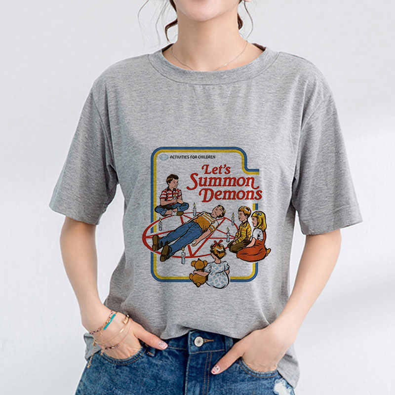 Summer 2019 Women T-shirt Gray Shirt Pulp Fiction Graphic Tee Funny Aesthetic Clothes Tumblr Ulzzang Gothic Casual Short Sleeve