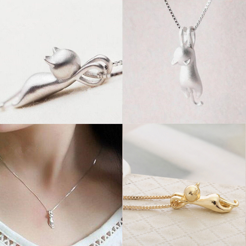 Fashion Cute Cat Necklace & Pendant For Women Gift Silver Gold Plated Wholesale Trendy Animal Pet Charm Jewelry Colar de Plata