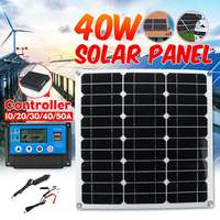 40W Flexible Solar Panel Solar Cells 10/20/30/40/50A Dual USB Solar Charge Controller for Car Led light Phone Outdoor Charger