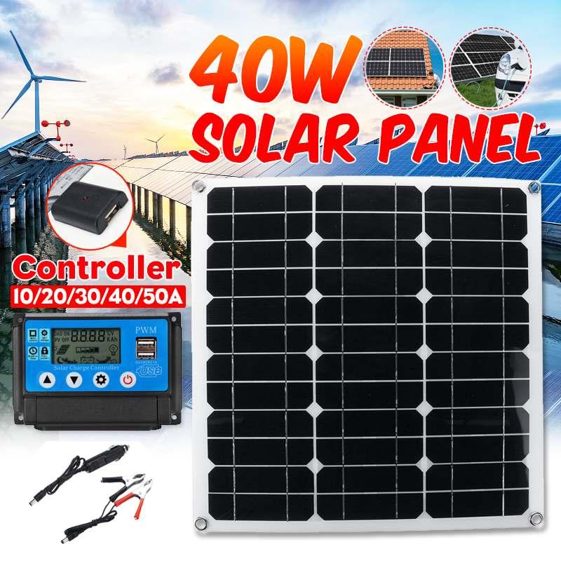 Cellules solaires flexibles de panneau solaire de 40 W 10/20/30/40/50A double contrôleur de Charge solaire d'usb pour le chargeur extérieur de téléphone de lumière LED de voiture