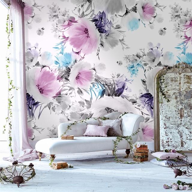 Tuya Kunst Desktop Blass Rosa Blumen Tapeten Für Schlafzimmer Wohnzimmer  Tapeten Wohnkultur Auf Der Wand