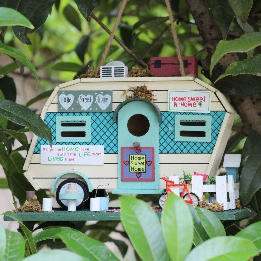28*20*16 cm 1 pièces en bois oiseau maison suspendus nid oiseau nichoirs Pet approvisionnement maison jardin Yard décoration HW050
