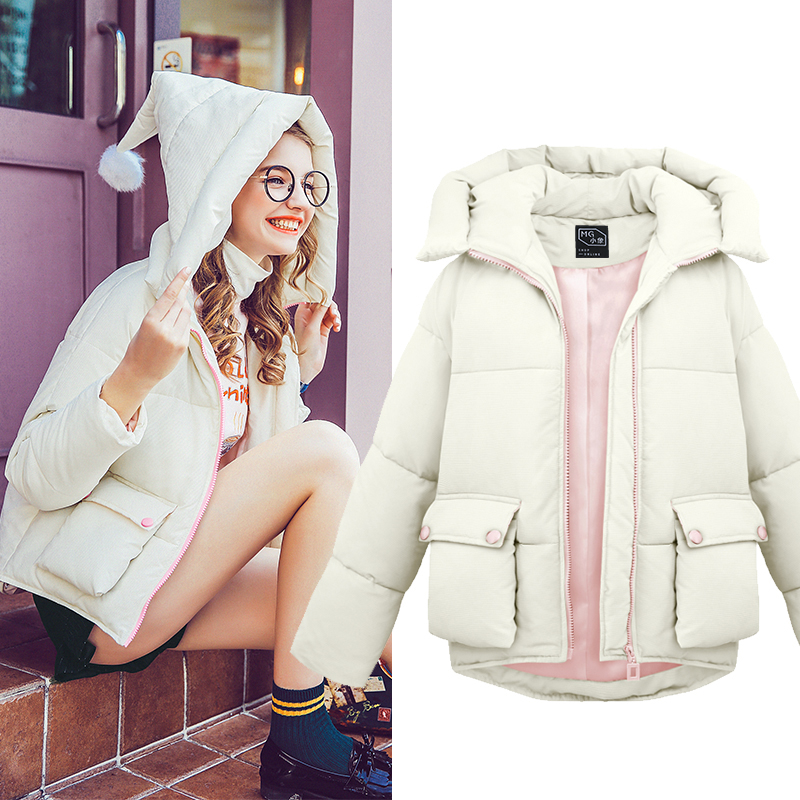 ФОТО Women's Winter Casual Short Style Big Witch Hoodie Coat Solid Color Cotton Warm Outerwear Padded Thick Coat Parkas Mujer MZ1132