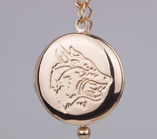 2017 Fashion Rose Gold Silver Wolf Head Locket Pendant Necklace
