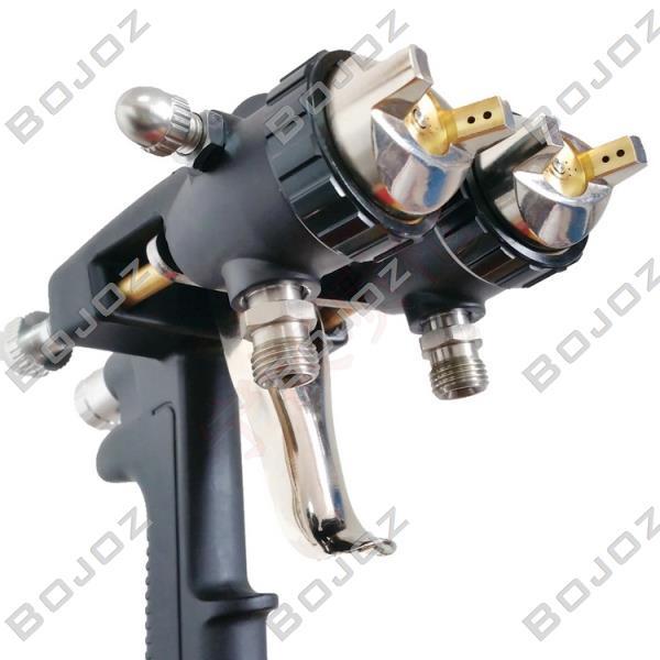 free shipping double 1 4mm nozzle pressure spray gun Nano chrome painting dual head Air pneumatic