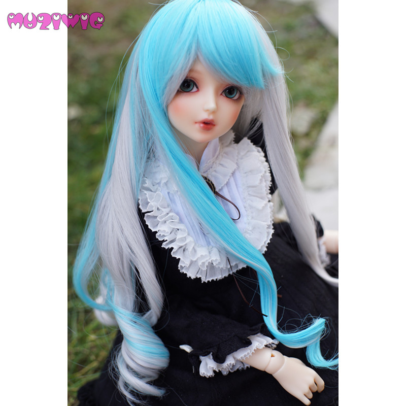 Symbol Of The Brand Muziwig Bjd 1/3 Heat Resistant Synthetic Baby Doll Wig Hair Ice Blue & Silvery Gray Mixed Wavy Hair With Bangs For Dolls Wigs