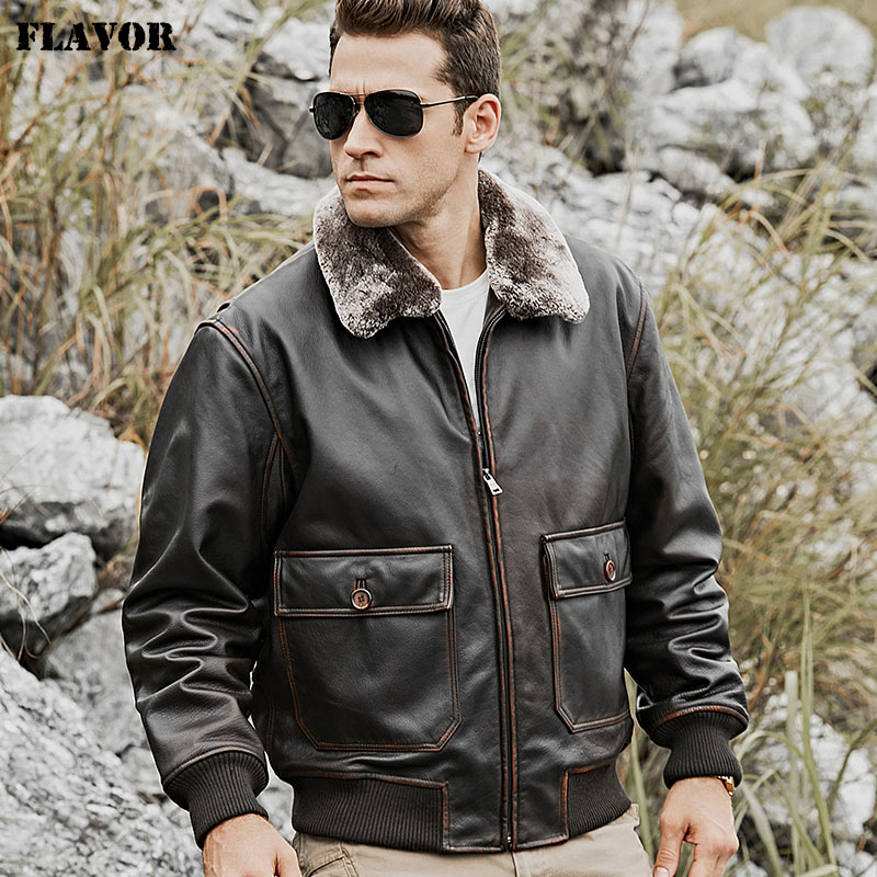 FLAVOR Men s Bomber Real Cow Leather Jacket with Removable Fur Collar Warm Air Force Pilot Innrech Market.com