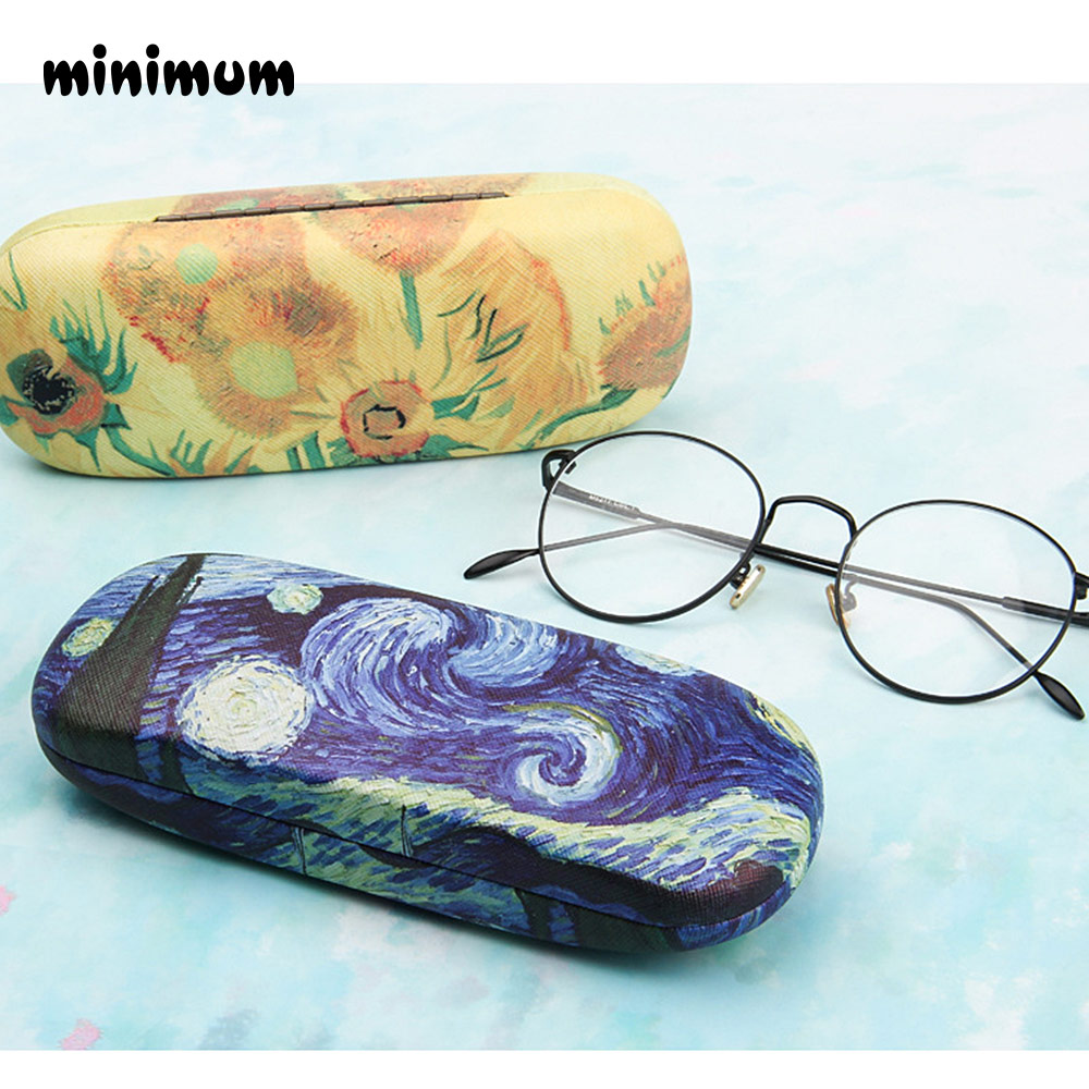 MINIMUM Retro Glasses Box Oil Painting Sunglasses High Quality Reading Glasses Case Vintage Art Storage Glasses Case