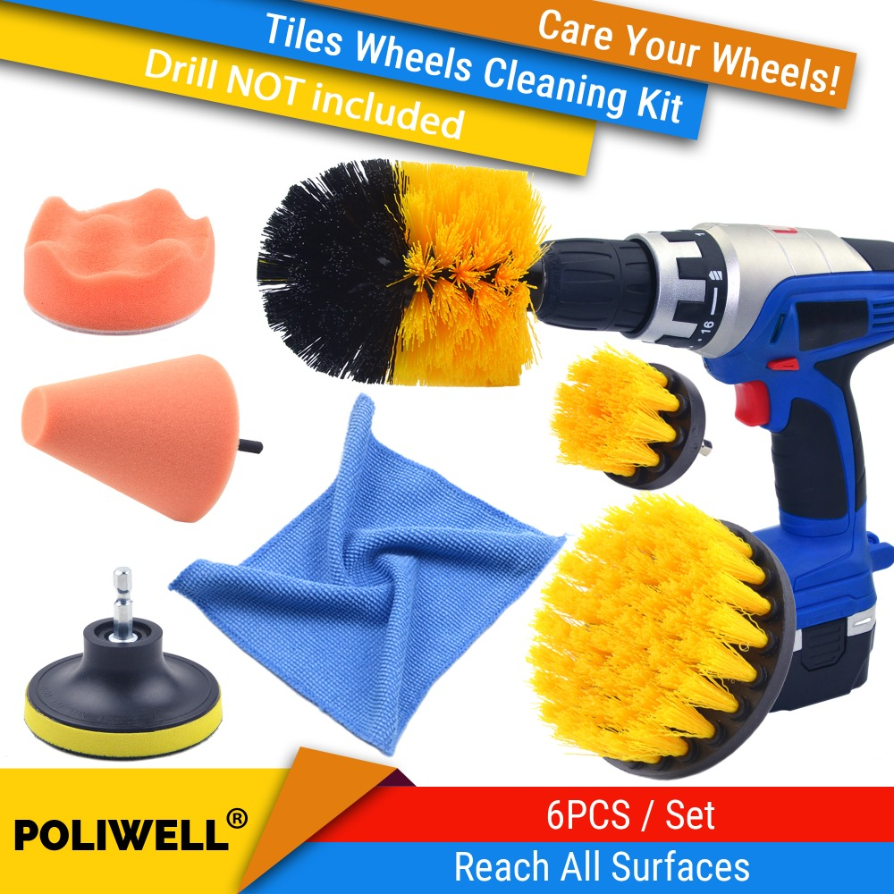 Wheels Tiles Care Buffing Sponge Mild And Mellow Car Wave Polishing Sponge Constructive 6pcs/set Drill Brush Scrubber Cleaning Set Medium Stiff Brushes