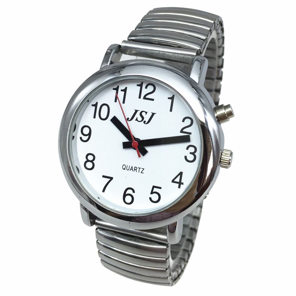 French Talking Watch with Alarm Expanding Bracelet Silver Color Talking date and time