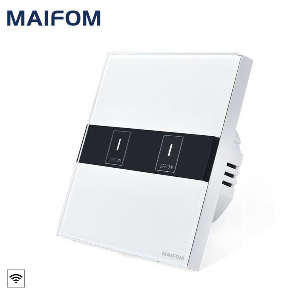 MAIFOM WiFi Touch Switch Wireless WiFi 2.4G APP Remote Control Luxury Glass Panel Touch LED Light Switch Smart Timer Switch black color 2gang touch light switch with wireless remote control rf 433mhz glass panel smart wall touch switch uk type