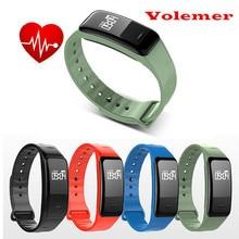 Новый volemer Спорт C1 Смарт Браслет артериального давления сна монитор сердечного ритма шагомер будильник IP67 smartband для iOS и Android