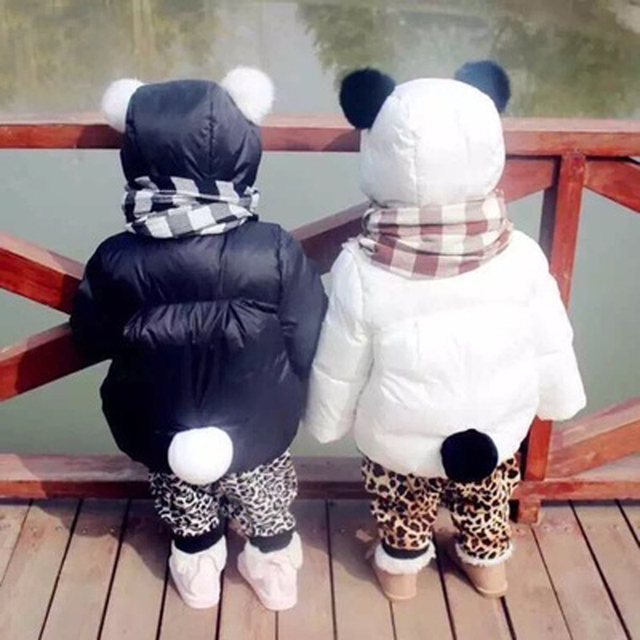Girls Clothes Winter Panda Baby Cute Jacket Kids Hooded Outerwear Warm Coat Baby Snowsuit Cotton-padded Fur Ball Children Hoodie