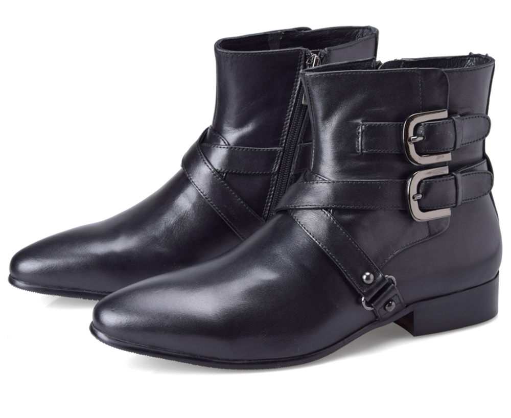 Aliexpress.com : Buy Double buckle pointed toe black boots mens ...