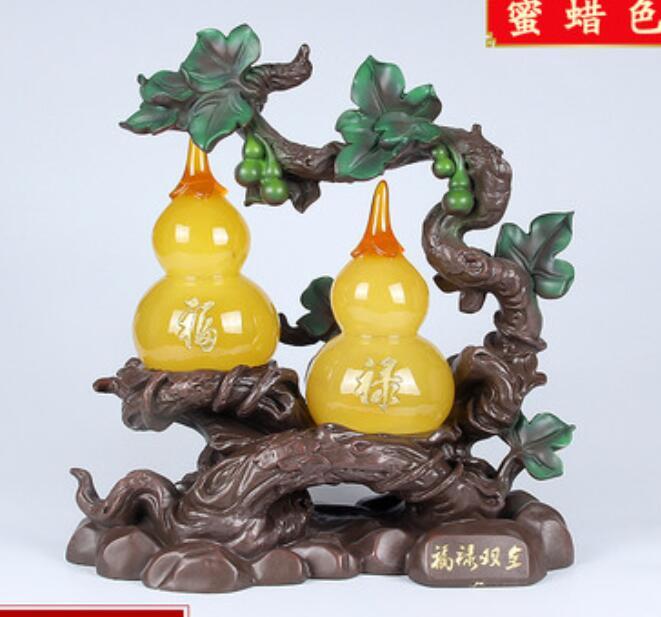 Resin Recruit money Honeywax color plants plastic Gourd put five blessings door birthday gifts fortune statue sculpture