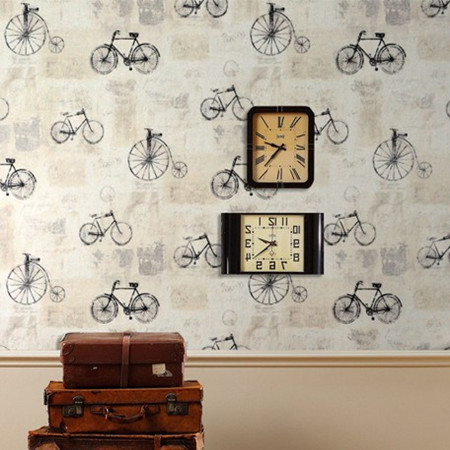 Bike designer decor vintage wallpaper vinyl roll mural for Antique wallpaper mural
