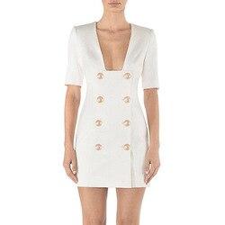 2019 Elegant Party Double Breasted Dress Fashion Solid Black White V-neck Femme Dress Slim OL Formal Vestidos De Verano Jurken 4