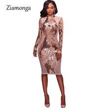 Ziamonga Women Autumn Winter Dress Sexy Gold Sequin Sheath Bodycon Bandage Dress  High Neck Mesh Nightclub Wear Party Vestidos ecccc15c2df5