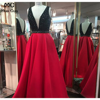 Top Quality 2018 Beaded Evening Prom Dresses Long Black & Red Deep V Neck Satin Formal Evening Party Dress for Women