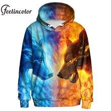 Фотография Feelincolor Ice Fire Wolf Hoodies 3D Men Women Sweatshirts Fashion Pullover Autumn Tracksuits Harajuku Outwear Casual Animal Top