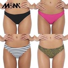 M&M Brazilian Women Bikini Bottoms 2019 Summer Sexy Low Waist Swimwear Two-Piece