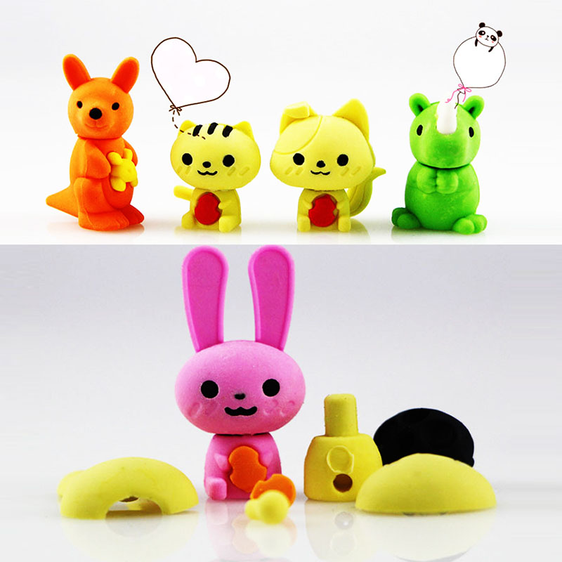 Animal Erasers Set Removable Assembly Diy Cartoon Eraser Toys Kids Children Student Prize Gift School Supplies