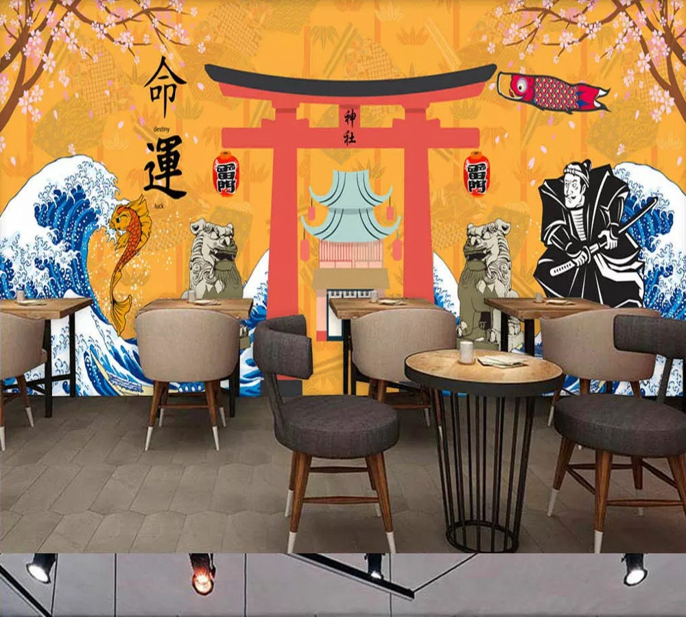 Free Shipping Custom Wallpaper Mural Retro Japanese Traditional Culture Restaurant Sushi Shop Background Wall Painting Deco free shipping penguin dolphin 3d sea world flooring painting kitchen lobby restaurant floor wallpaper mural