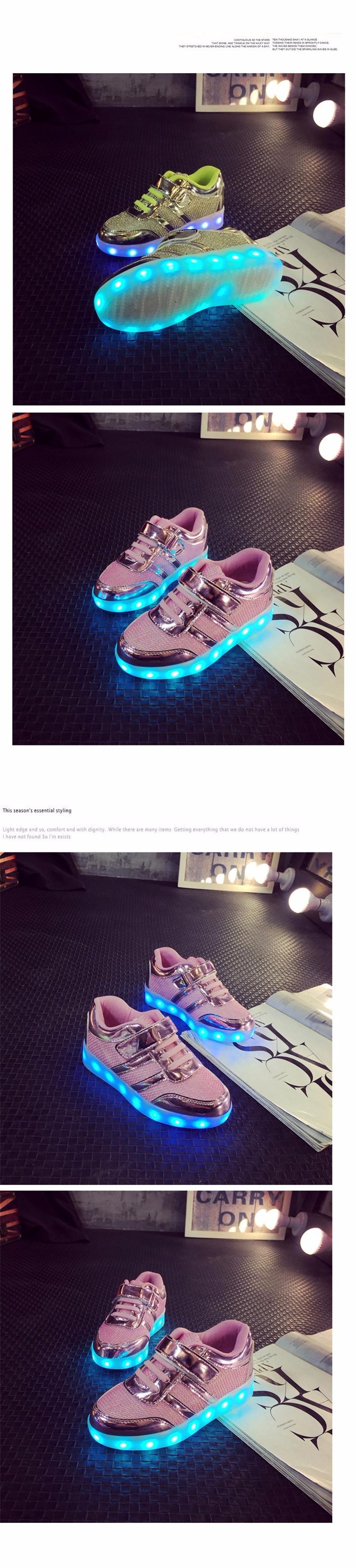 Kid USB Charging LED Light Shoes Soft Net Casual Boy Girl Luminous Sneakers Antiskid Bottom Children Shoes Tenis Led Infantil (4)