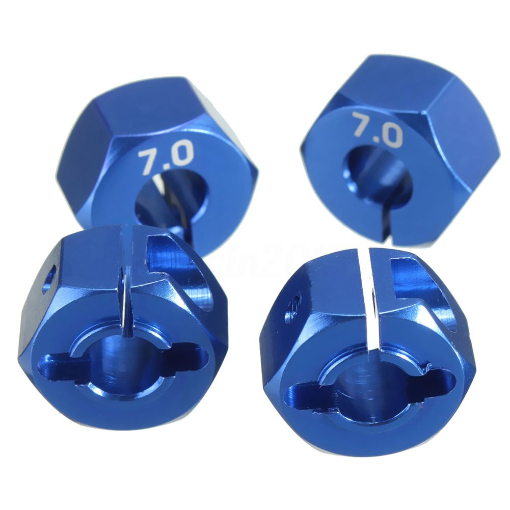 RC Blue Aluminum 7.0 Wheel Hex 12mm Drive with Pins Screws 4P HSP HPI Tamiya Ca image