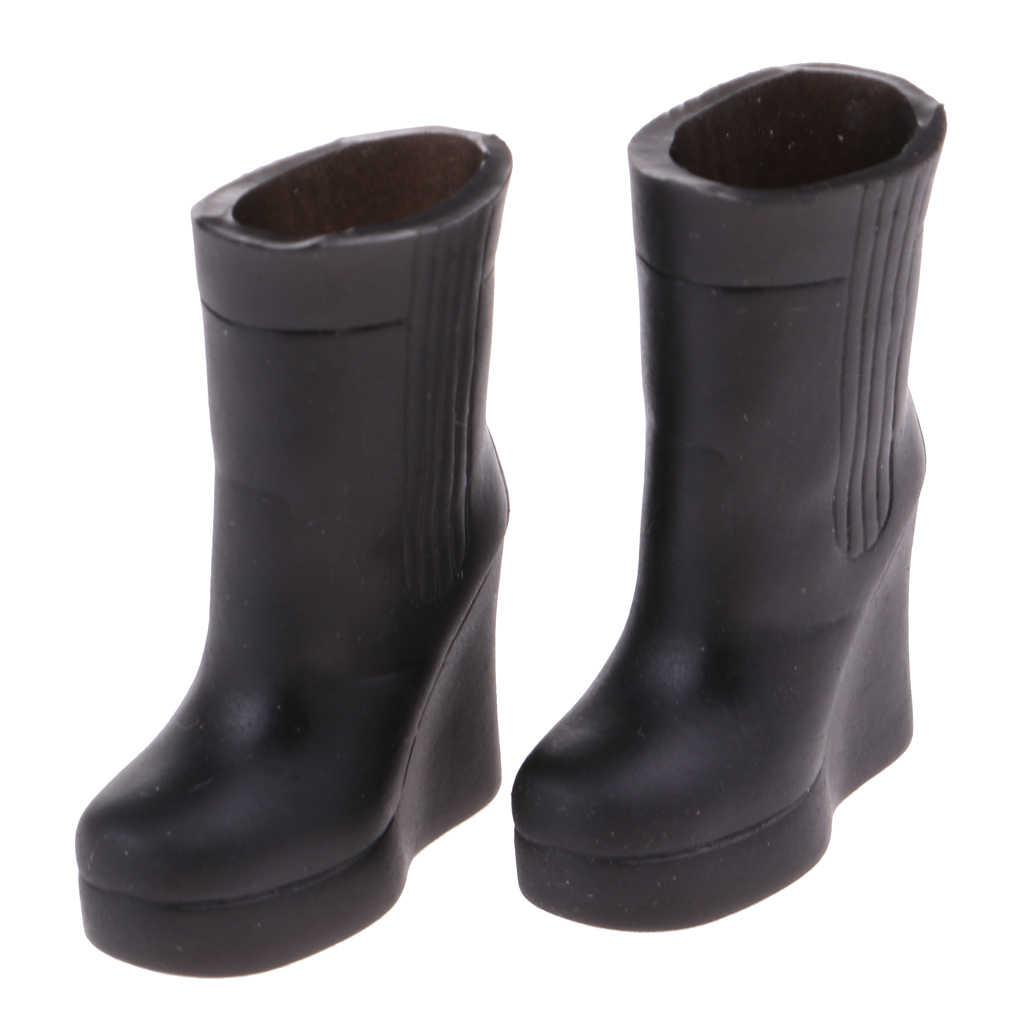 Magideal botas de plástico sapatos para 12 polegada blythe 1/6 licca boneca roupas acessório preto