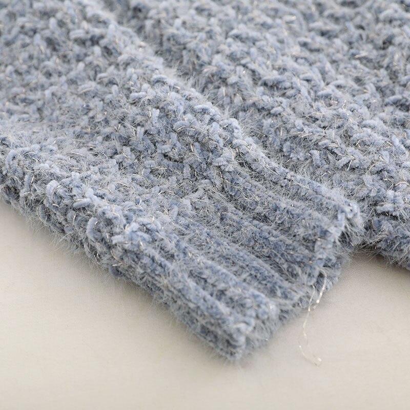 À La De gray 2018 Pull Casual Solide Femmes Taille Longues lpurple khaki Haute Kint Automne Coton Coréenne Hiver Qualité Plus Mode Gris Chandail Beige Manches q8x4dq6
