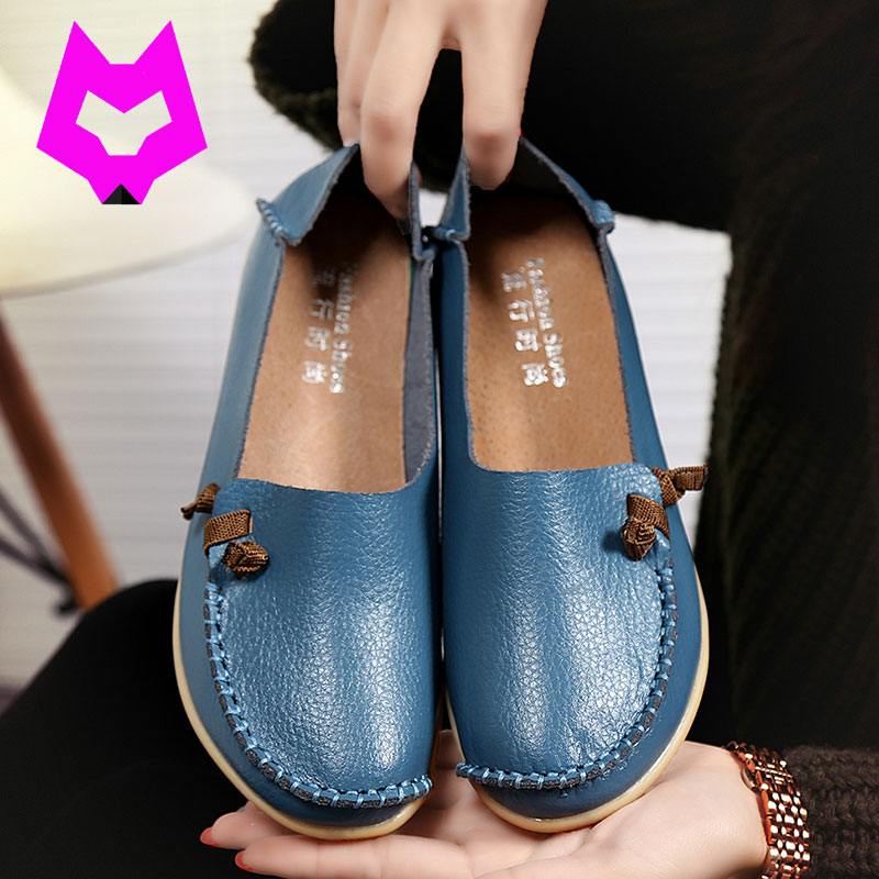 Wolf Who Loafers Moccasins shoes woman mother shoes 17 colors casual flats slip on nurse shoes plus size 35-44 Doug shoes  wolf who 2017 summer loafers cut out women genuine leather shoes slip on shoes for woman round toe nurse casual loafer moccasins