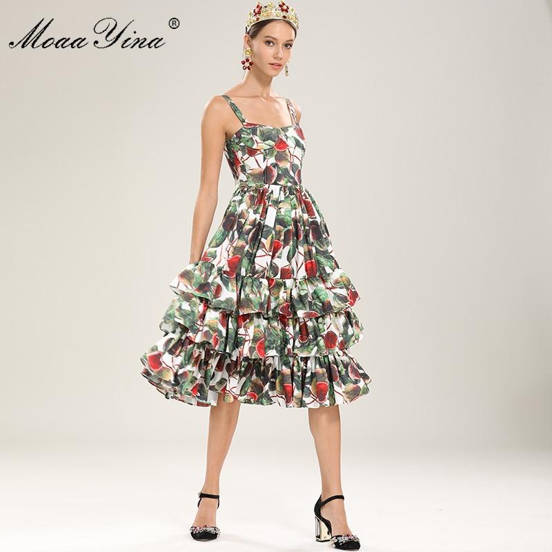 MoaaYina Fashion Designer Runway Dress Summer Women Spaghetti Strap Fig Floral Print Cascading Ruffle Sexy Elegant Midi Dress
