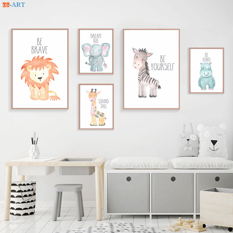 Us 3 94 18 Off Nursery Wall Art Animal Print Baby Poster Cartoon Canvas Painting On The Kids Bedroom Decorative Picture Frame In