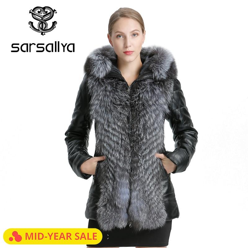 SARSALLYA femmes en cuir veste manteau hiver chaud pardessus naturel renard fourrure manteau détachable veste vraie fourrure décontracté femmes C