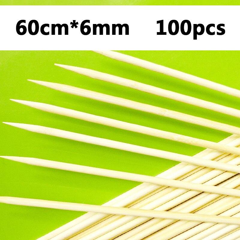 60cm x 6mm 50-100pcs Long Wooden Skewers for Shish Kebab Tornado Potato Bamboo Skewer Natural Wood BBQ Needle Sticker Barbecue