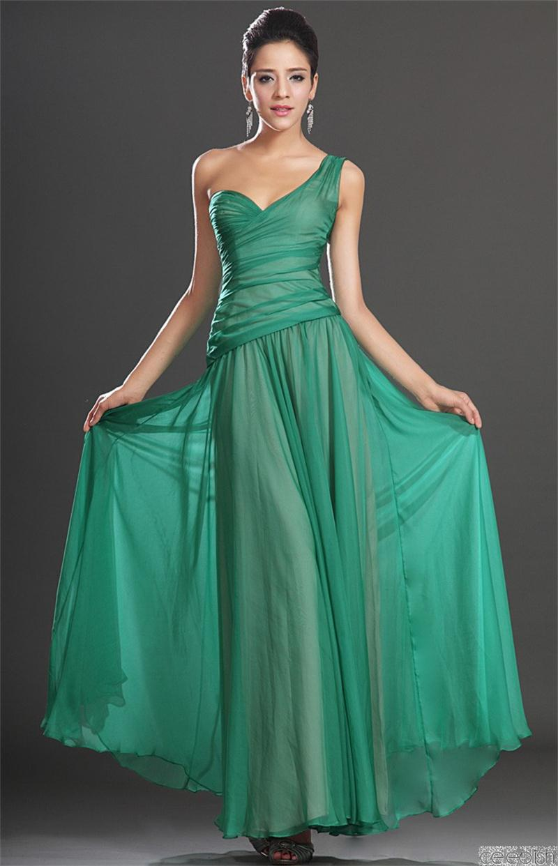 save up to 80% retail prices online here Real Sample Paula Patton One Shoulder Green Chiffon Ruffles ...