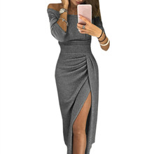 Spring Autumn Party Dress Irregular Split Slash Sexy Elegant Package Hip Midi Winter Women Robe Club New M0160