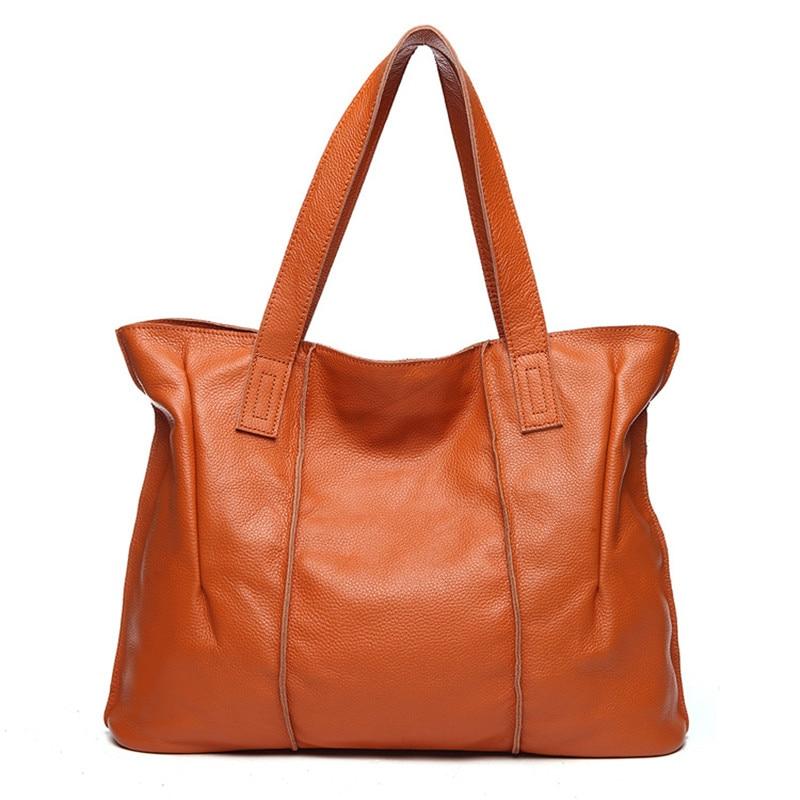Tagdot Vintage Retro bag women Black Genuine Leather handbags for Women Genuine leather big bag 2018 Blue brown red Simple style genuine leather