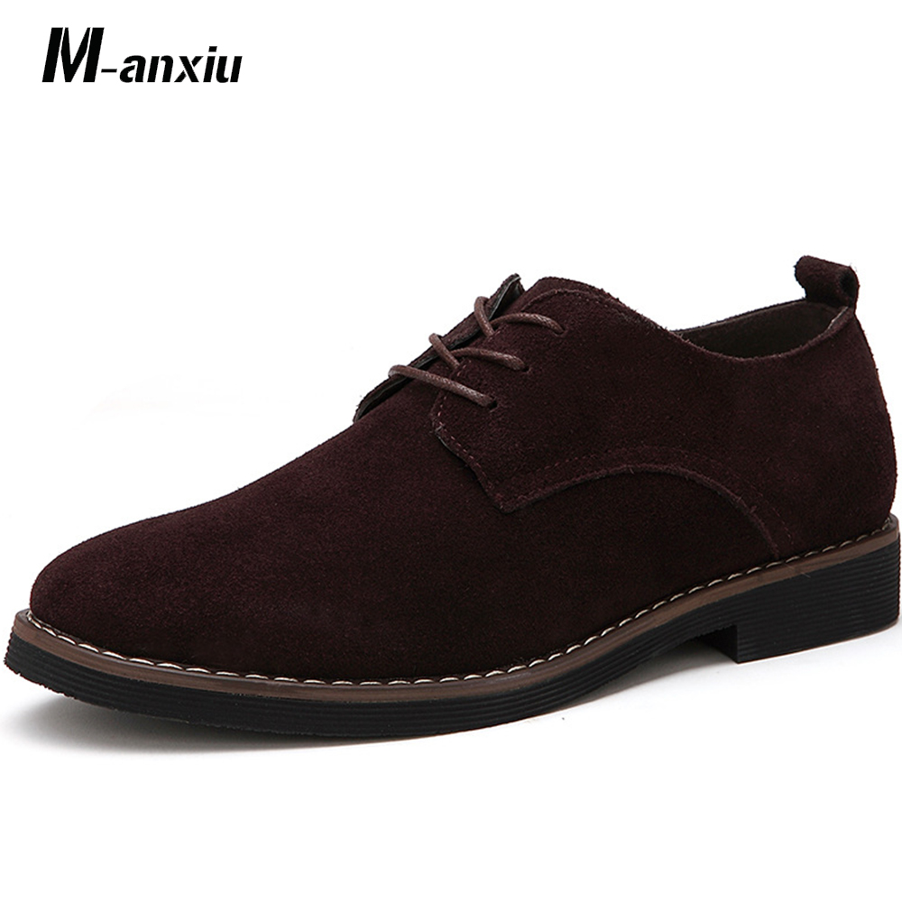 M anxiu Plus Size 38 48 Oxford Men Shoes PU Suede Leather Suede Leather Black Brown Soft Shoes 2018 Leisure Male Formal Shoes